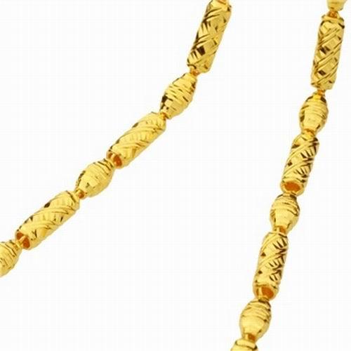 萃华金店千足金橄榄圆筒黄金项链图片珠宝图图片-杉杉的珠宝窝