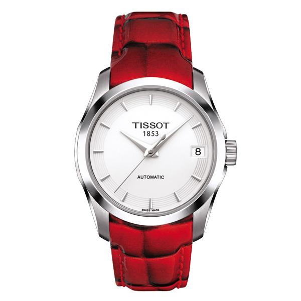 天梭库图系列三指针机械女表红皮带款-Tissot 天梭表 携库图系列咏赞图片