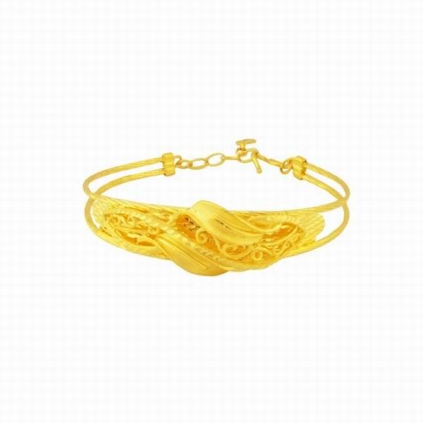 周大生黄金手镯欹o#_周大生2013新款黄金系列手镯之龙花图片_珠宝图片