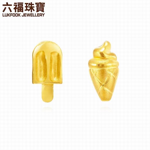 六福珠宝足金夏日冰淇淋耳钉图片_珠宝图片