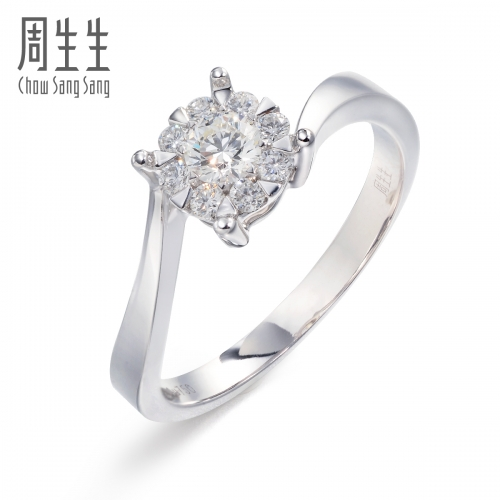 周生生18K白色黄金钻石戒指图片_珠宝图片