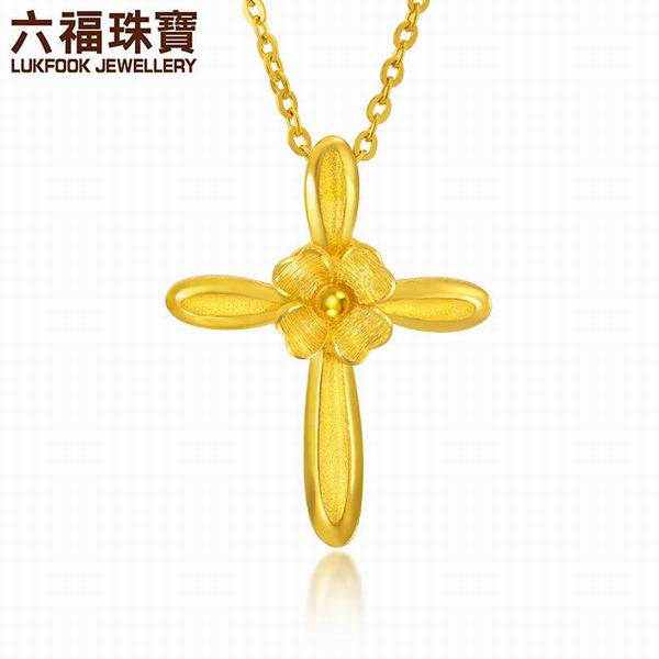 六福珠宝千足金花之约誓十字架黄金吊坠图片_珠宝图片