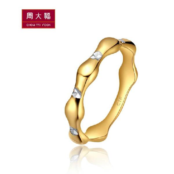 周大福优雅双色10K金戒指图片_珠宝图片