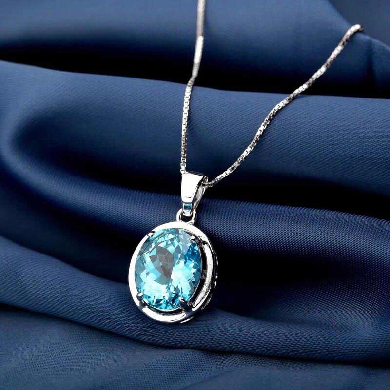 珂兰钻石托帕石蓝水晶优雅之恋项链图片_珠宝图片