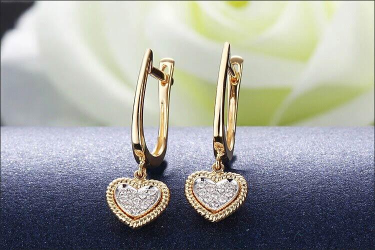 戴维尼溢满心田18K黄金钻石耳环图片_珠宝图片