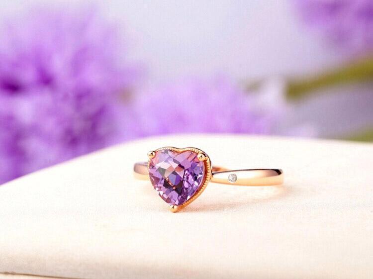 珂兰钻石天然心形紫宝石钻石群镶水晶戒指图片_珠宝图片