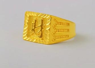 老鳳祥男士黃金戒指