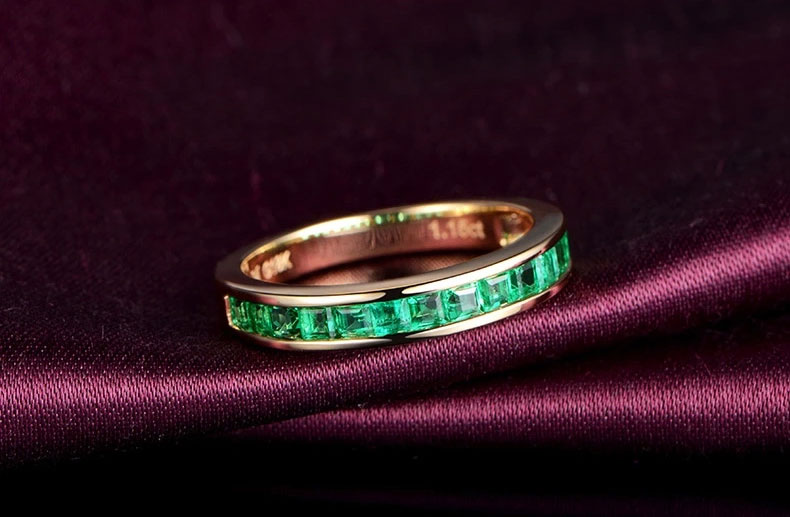 米莱珠宝18K黄金排镶天然祖母绿戒指图片_珠宝图片