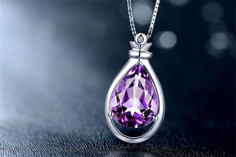 珂兰钻石10K金巴西天然紫水晶吊坠图片_珠宝图片