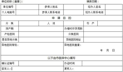 办理生育保险申请表