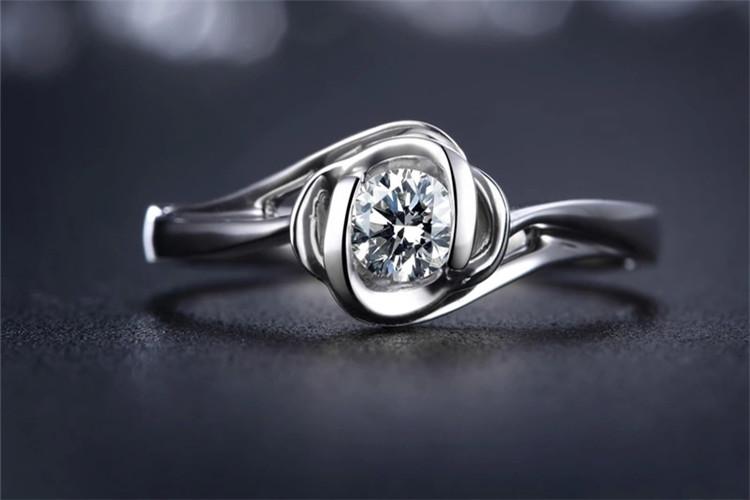 珂兰钻石白18K单钻求婚结婚戒指_珠宝图片
