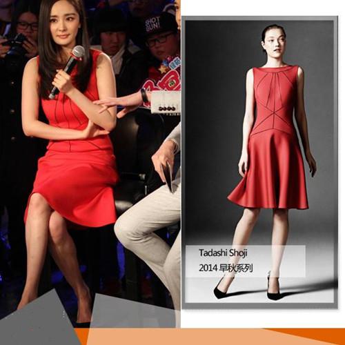 杨幂撞衫佟丽娅 同穿红色连衣裙谁更美?