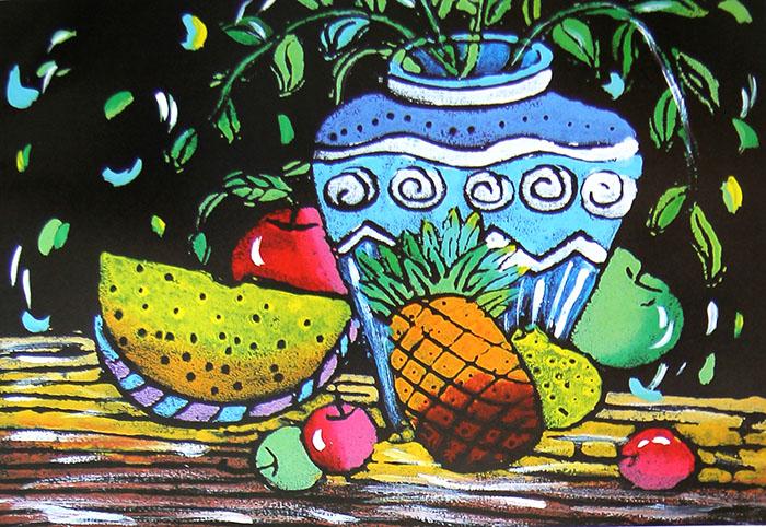 少儿版画 - 花瓶和水果