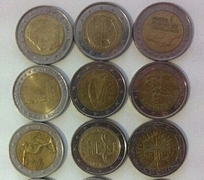 硬币图片,欧元硬币的正面都是相同的,但背面则是由各个国家自高清图片