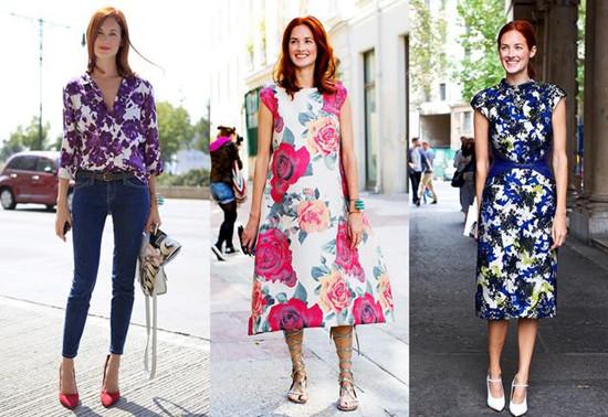 时尚博主穿衣搭配技巧示范 印花单品让你变优雅女人