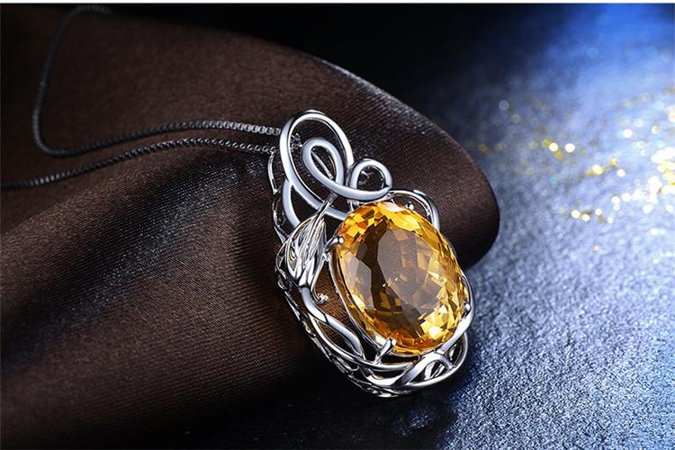 恒久之星珠宝白18K金黄水晶钻石吊坠_珠宝图片