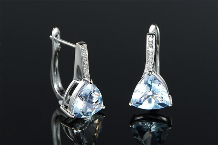 米莱珠宝白18K金天然海蓝宝钻石耳环_珠宝图片