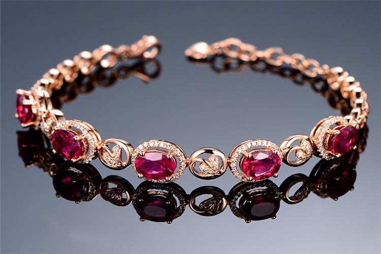米莱珠宝白18K金4.85克拉碧玺钻石手链_珠宝图片