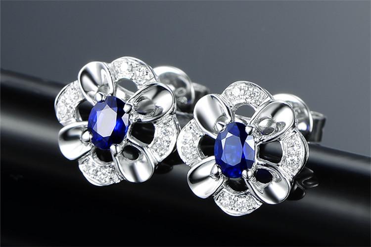 米莱珠宝白18K金皇家蓝宝石钻石耳环_珠宝图片