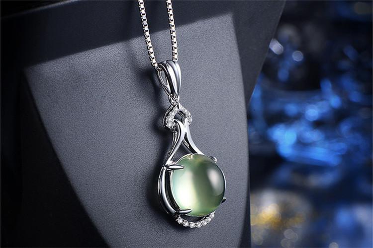 恒久之星珠宝白18K金葡萄石钻石吊坠_珠宝图片