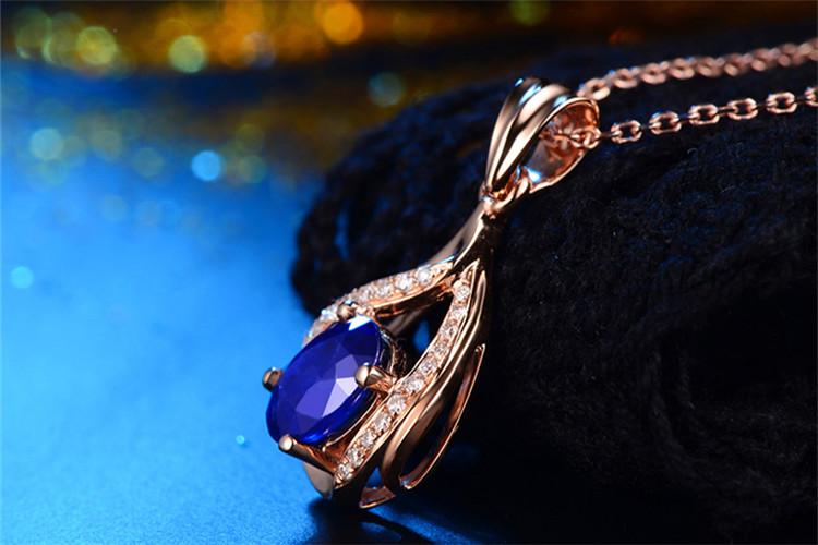恒久之星珠宝白18K金1.1克拉天然蓝宝石吊坠_珠宝图片