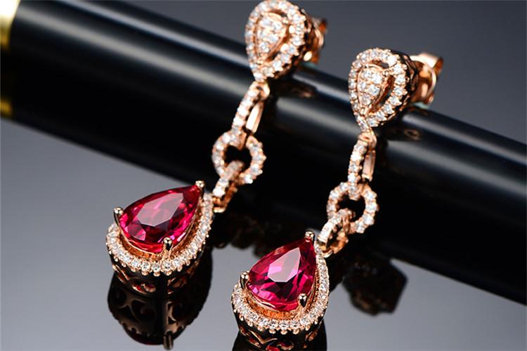 米莱珠宝5.11克拉天然鸽血红宝石钻石耳环_珠宝图片