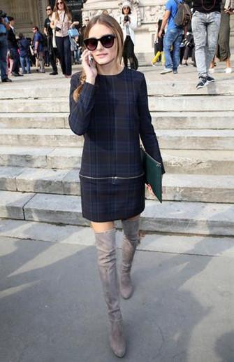欧美服装流行趋势示范 过膝长靴保暖又时髦