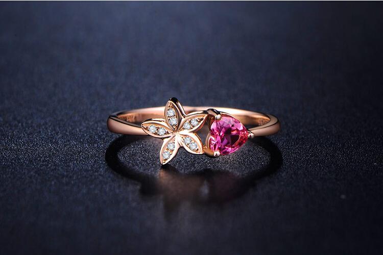 千禧之星珠宝18K玫瑰金蜜·语系列钻石碧玺戒指_珠宝图片