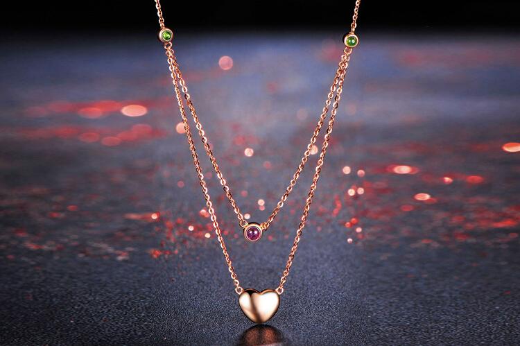 千禧之星珠宝18k玫瑰金心形红碧玺项链_珠宝图片