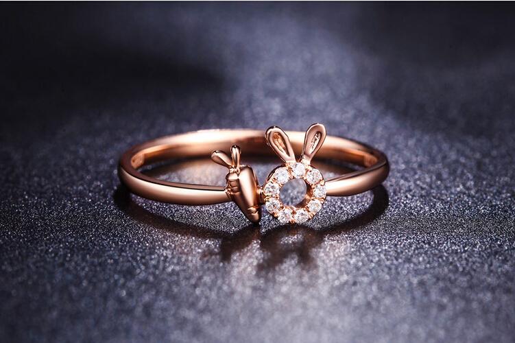 千禧之星珠宝18K玫瑰金生肖兔钻石戒指_珠宝图片