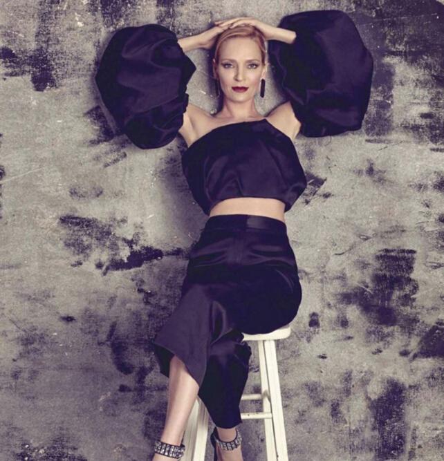 乌玛·瑟曼最新杂志大片 大牌时装珠宝加身优雅十足