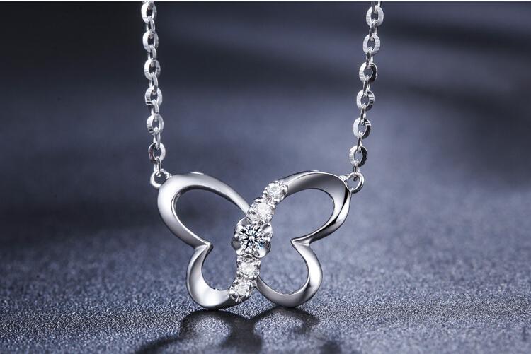 千禧之星珠宝白18K金钻石吊坠项链_珠宝图片