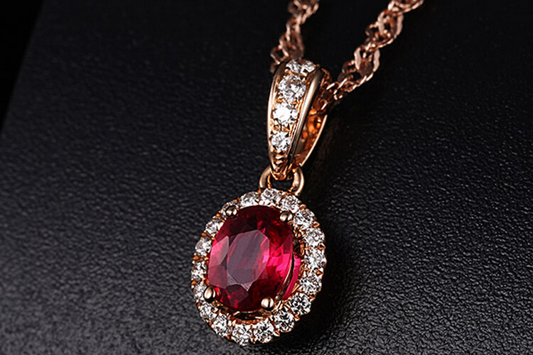 ENZO珠宝18K玫瑰金天然红宝石彩宝吊坠_珠宝图片