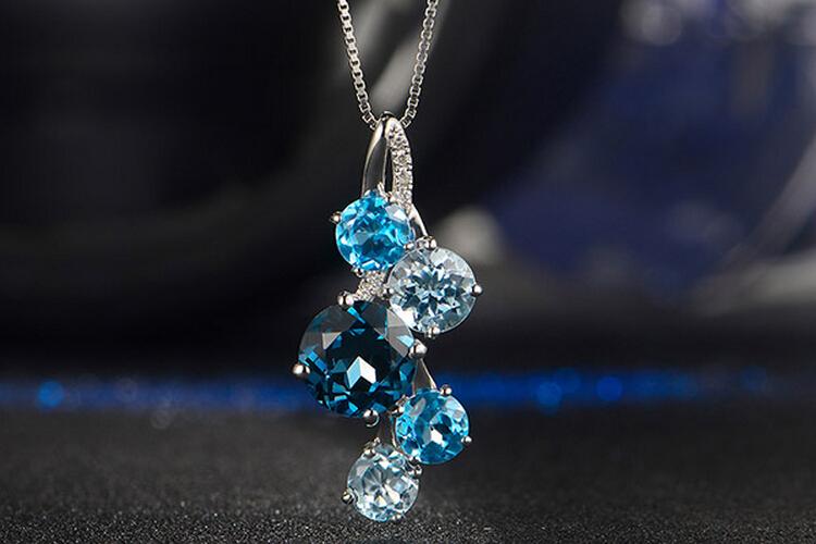 ENZO珠宝白18K金三色托帕石吊坠_珠宝图片