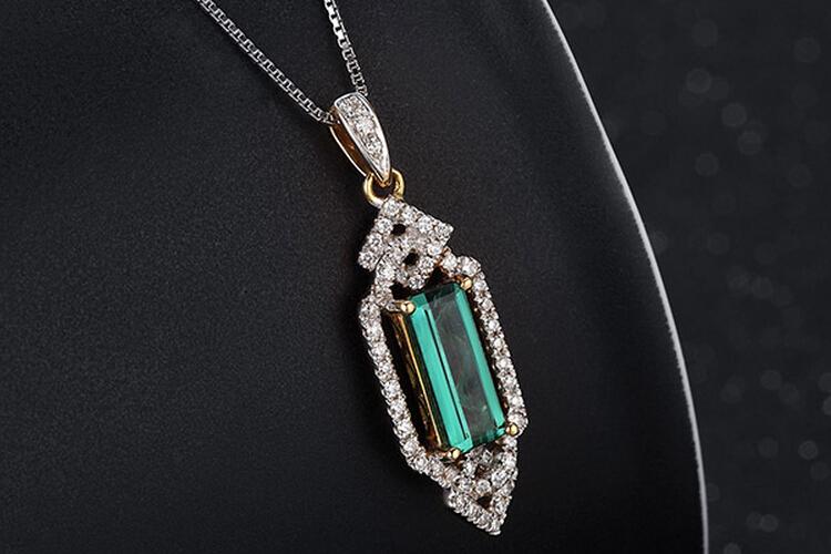 ENZO珠宝黄18K金绿碧玺吊坠_珠宝图片