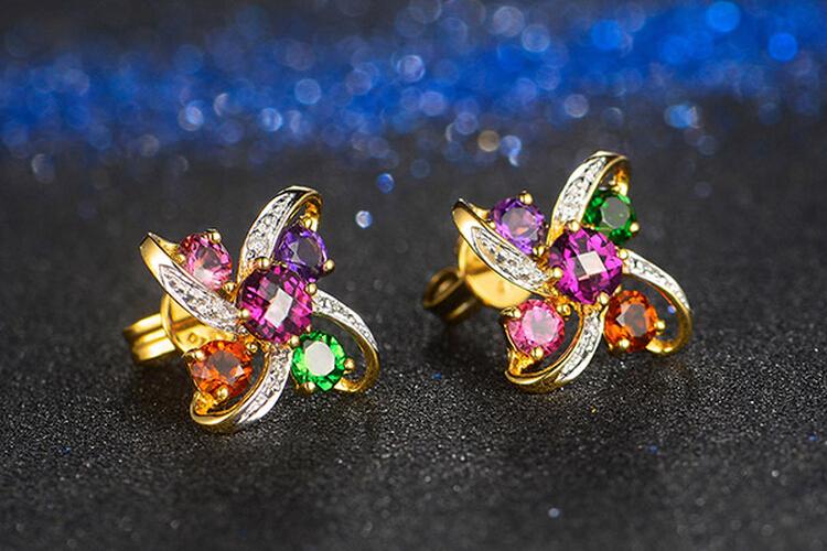 ENZO珠宝黄18K金彩色宝石耳环_珠宝图片