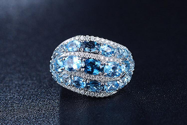 ENZO珠宝白18K金彩色宝石镶嵌钻石戒指_珠宝图片