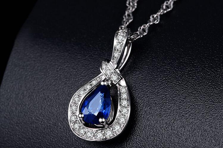 ENZO珠宝白18K金天然红蓝宝石彩宝吊坠_珠宝图片