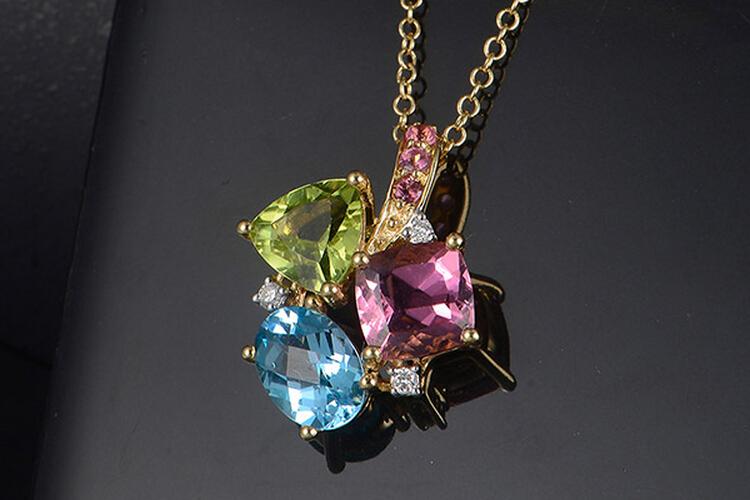 ENZO珠宝黄18K金多种彩色宝石经典彩宝项链_珠宝图片