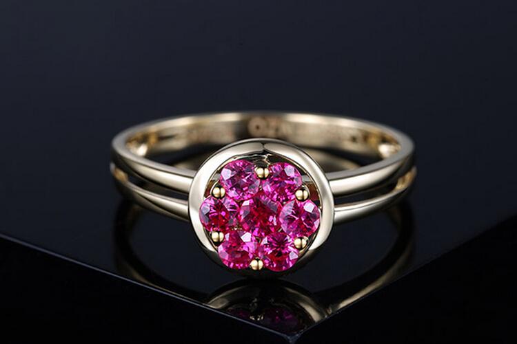 ENZO珠宝黄18K金天然红宝石彩宝戒指_珠宝图片