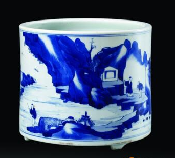 一幅展开的水墨画卷 清康熙青花笔筒