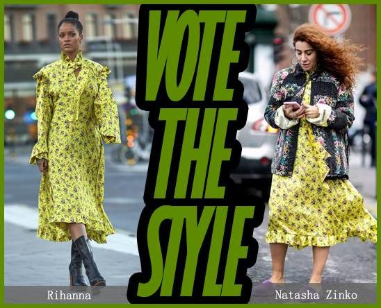 蕾哈娜撞衫Natasha 同穿黄色碎花裙谁更美