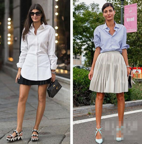 时尚达人穿衣搭配示范 大号衬衫轻松就能独当一面