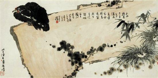 潘天寿磐石墨鸡图收藏鉴赏