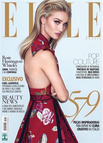 超模Rosie Huntington登上《Elle》杂志9月号封面