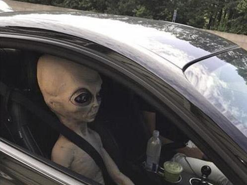 司机身旁坐外星人 因超速驾驶被警察拦下拍下照片