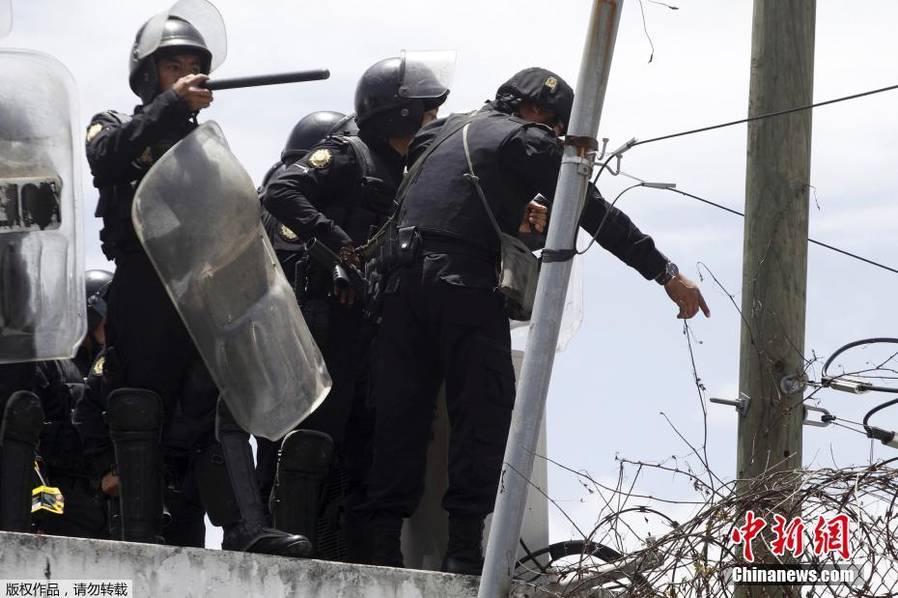危地马拉城囚犯越狱对峙警方 已造成2名囚犯死亡