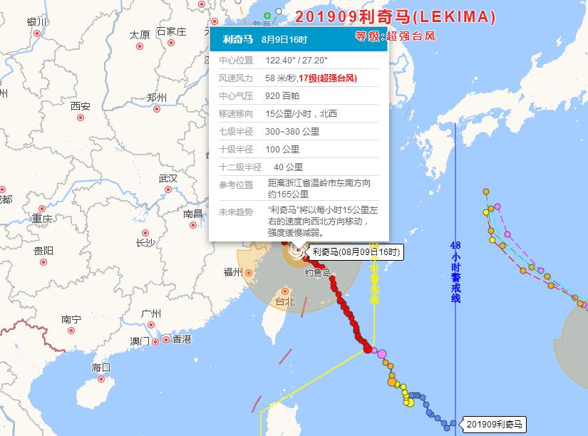 """今日台风最新消息:16级超强台风""""利奇马""""即将登陆浙江沿海"""