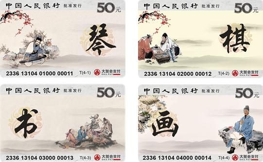 """""""艺术卡——琴棋书画""""IC储值纪念卡(601002)"""
