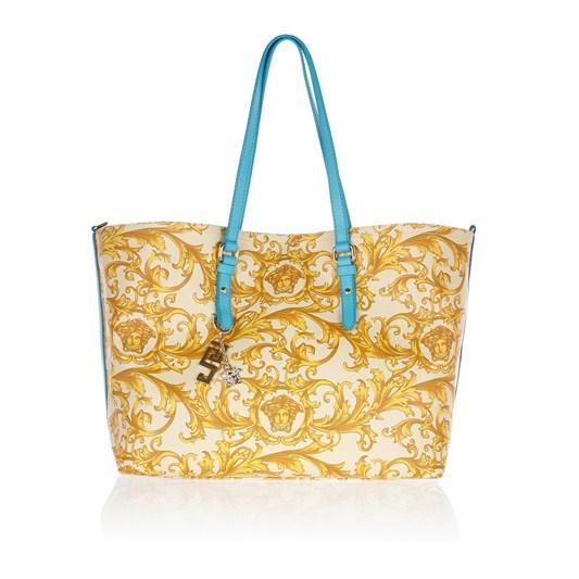 范思哲Versace蓝色皮带复古印花手提包